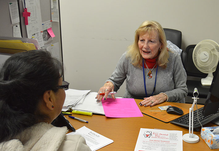 Admissions Advisor Diane Cooper interviewing applicant